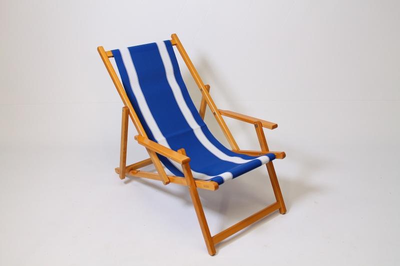 houten strandstoel met kunststof bekleding