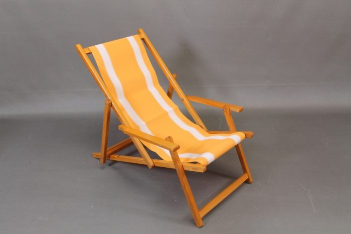 wooden beach chair yellow white