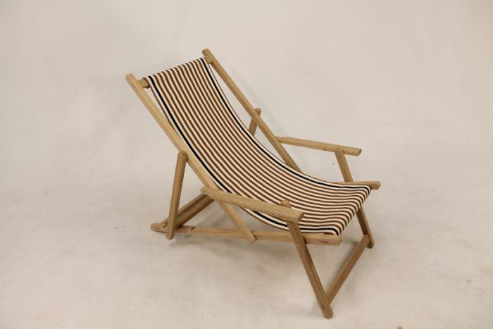 eiken strandstoel katoenen loper smalle baan